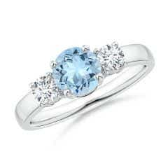 Classic Aquamarine and Diamond Three Stone Engagement Ring