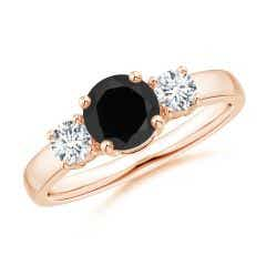 Classic Black Onyx and Diamond Three Stone Engagement Ring