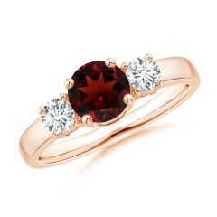 Classic Garnet and Diamond Three Stone Engagement Ring
