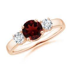 Classic Garnet and Diamond Three Stone Engagement Ring