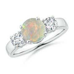 Classic Opal and Diamond Three Stone Engagement Ring