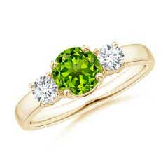 Classic Peridot and Diamond Three Stone Engagement Ring