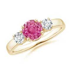 Classic Pink Sapphire and Diamond Three Stone Engagement Ring