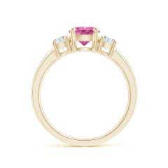 Toggle Classic Pink Sapphire and Diamond Three Stone Engagement Ring