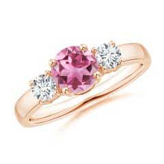 Classic Pink Tourmaline and Diamond Three Stone Ring