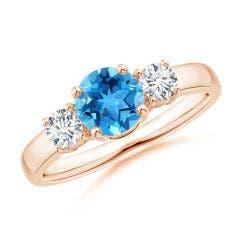 Classic Swiss Blue Topaz and Diamond Three Stone Ring
