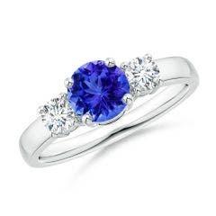 Classic Tanzanite and Diamond Three Stone Engagement Ring