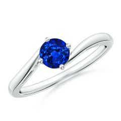 Classic Round Sapphire Solitaire Bypass Ring