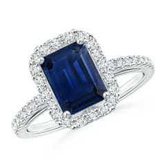 Vintage Inspired Emerald-Cut Sapphire Halo Ring