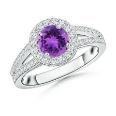 Round Amethyst Split Shank Ring with Diamond Halo