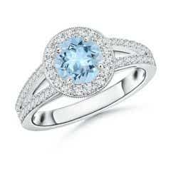 Round Aquamarine Split Shank Ring with Diamond Halo