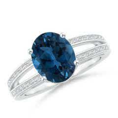Twin Shank GIA Certified Oval London Blue Topaz Ring