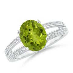 Twin Shank GIA Certified Oval Peridot Ring with Diamonds