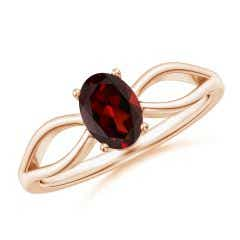 Prong-Set Solitaire Garnet Split Shank Ring