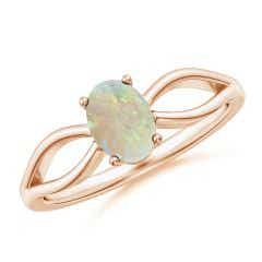 Prong-Set Solitaire Opal Split Shank Ring