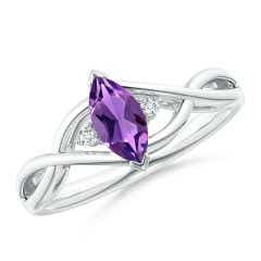 Criss-Cross Marquise Amethyst Solitaire Ring with Diamonds