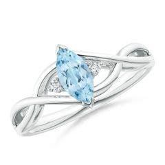 Criss-Cross Marquise Aquamarine Solitaire Ring with Diamonds