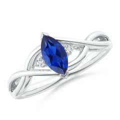 Criss-Cross Marquise Sapphire Solitaire Ring with Diamonds