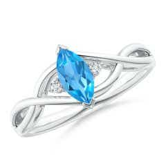 Criss-Cross Marquise Swiss Blue Topaz Solitaire Ring