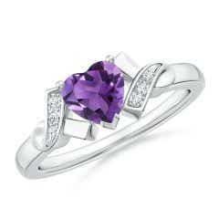 Solitaire Amethyst Heart Ring with Diamond Accents