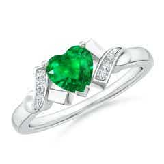Solitaire Emerald Heart Ring with Diamond Accents