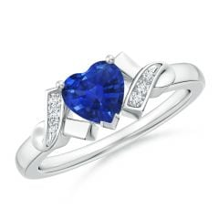 Solitaire Blue Sapphire Heart Ring with Diamond Accents