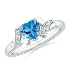 Solitaire Swiss Blue Topaz Heart Ring with Diamond Accents