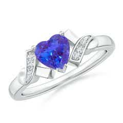 Solitaire Tanzanite Heart Ring with Diamond Accents