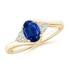 Oval Sapphire Bypass Ring with Trio Diamond Accents