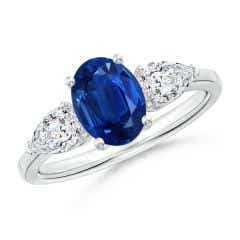 Oval Blue Sapphire Three Stone Ring with Pear Diamonds