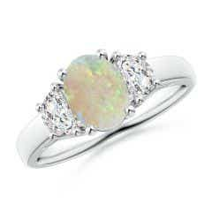 Three Stone Oval Opal and Half Moon Diamond Ring
