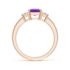 Toggle Amethyst and Diamond Three Stone Ring