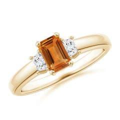 Citrine and Diamond Three Stone Ring