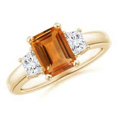 Citrine and Diamond Three Stone Ring