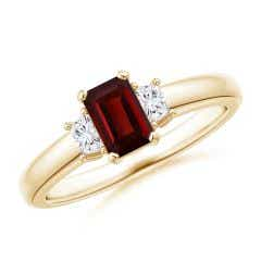 Garnet and Diamond Three Stone Ring