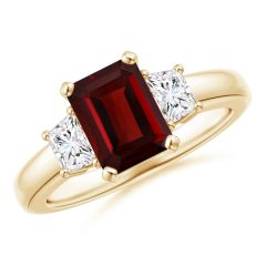 Garnet and Diamond Three Stone Ring