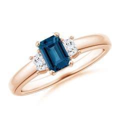 London Blue Topaz and Diamond Three Stone Ring