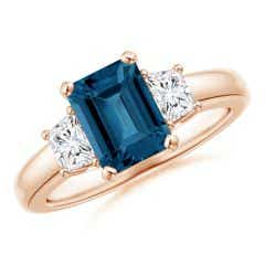 London Blue Topaz and Diamond Three Stone Ring