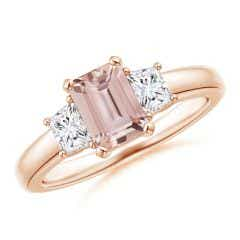 Morganite and Diamond Three Stone Ring