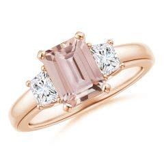 Morganite and Diamond Three Stone Ring
