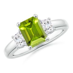 Peridot and Diamond Three Stone Ring