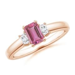 Pink Tourmaline and Diamond Three Stone Ring