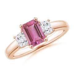 Pink Tourmaline and Diamond Three Stone Ring