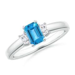 Swiss Blue Topaz and Diamond Three Stone Ring