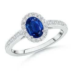 Classic Oval Blue Sapphire Halo Ring with Diamond Accents
