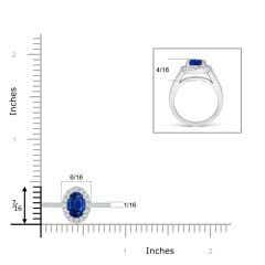 Toggle Classic Oval Blue Sapphire Halo Ring with Diamond Accents
