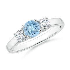 Classic Round Aquamarine and Diamond Three Stone Ring