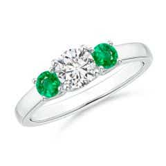 Classic Round Diamond and Emerald Three Stone Ring