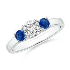 Classic Round Diamond and Sapphire Three Stone Ring