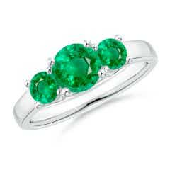 Classic Round Emerald Three Stone Ring